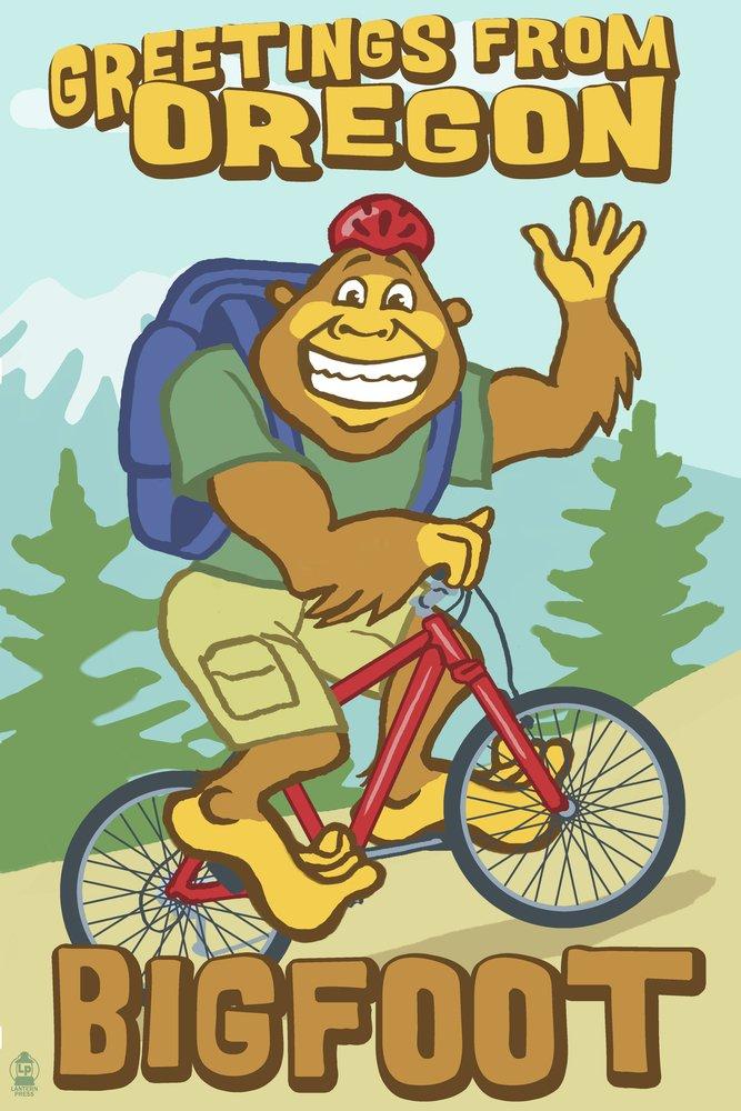 オレゴン州のBigfoot自転車用 36 x 54 Giclee Print LANT-31772-36x54 36 x 54 Giclee Print  B017EA1HZU