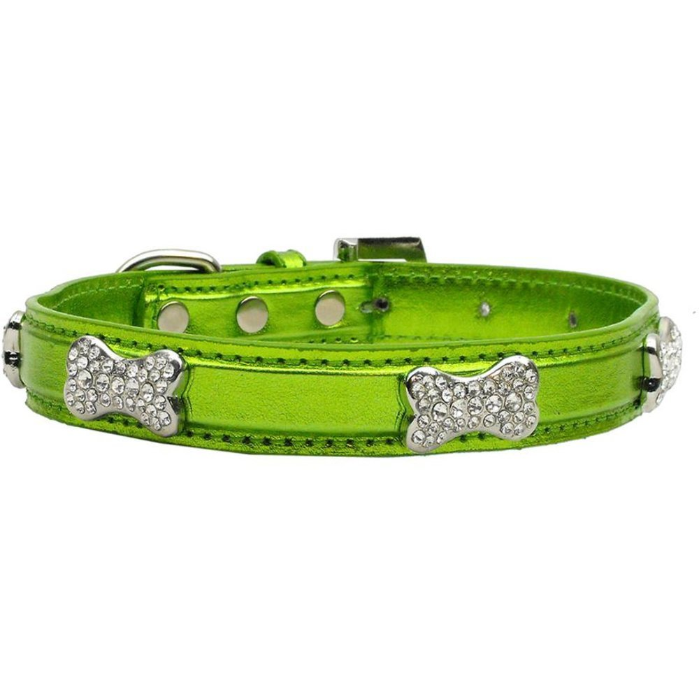 Mirage Pet Products Metallic Crystal Bone Collars, Lime Green, Medium