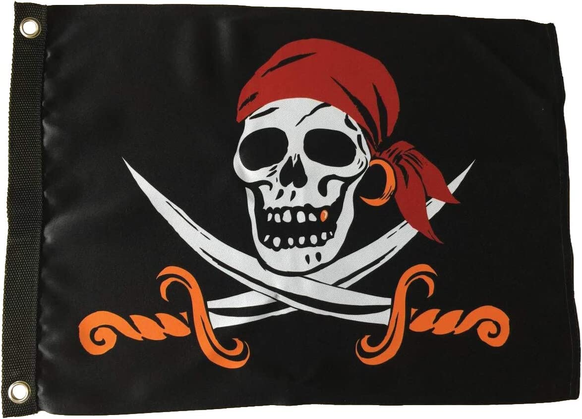 In the Breeze Captain Cutlass Lustre Grommeted Boat Flag, 12 by 18-Inch