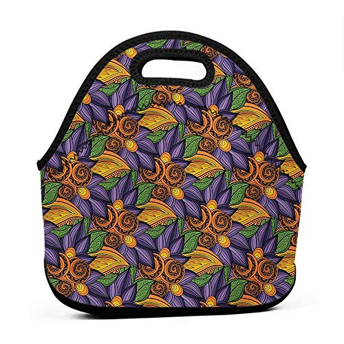 (for Womens Mens Boys Girls Floral,Vibrant Flowers Botany Mother Earth Tropicana Exotic Funky Vibes Pattern,Marigold Violet Purple,purse lunch bag for girls)