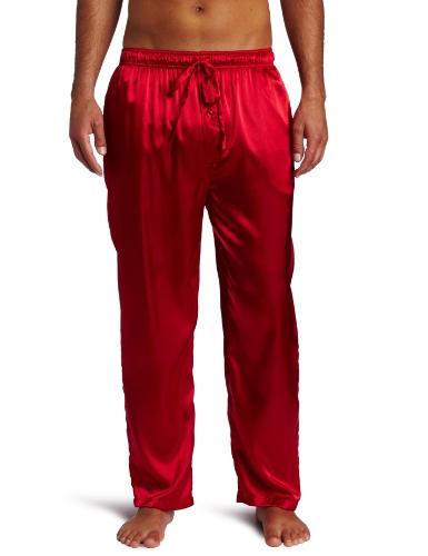 Intimo Men's Classic Satin Sleep Pant, Red, (Black Silk Pants)