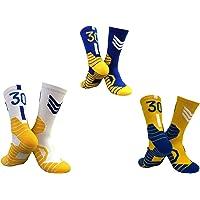 CNMD Calcetines con número del Equipo a Rayas clásicas n.o 30 de Warriors, Media Pantorrilla 3 Pairs- Adult
