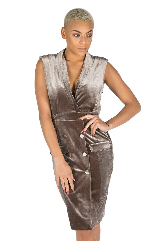 Alesha Dixon Women's Velvet Tux Dress, Mink