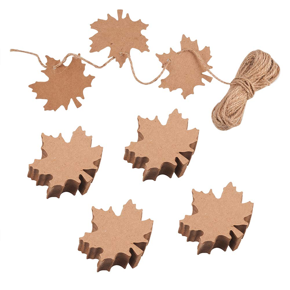 NBEADS 100 Pcs Blank Kraft Maple Leaf Jewelry Display Paper Hang Tags Price Tag Tags Gift Tags with 10m/32.8 Feet Jute Twine CDIS-PH0001-07-US6