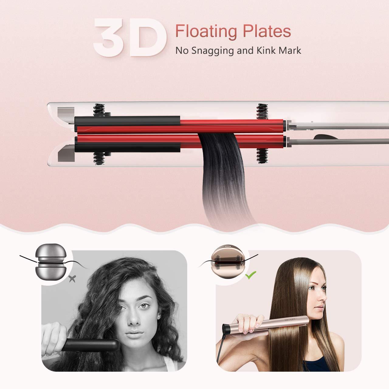 Homitt rectificador de iones enderezar el cabello de hierro, 2 en forma de 1 hierro plano redondo para alisar y rizar, diseño vertical, placas de oro: ...