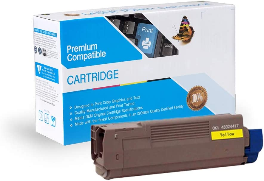 MC560 Works with: C6100 Yellow C6100N C6100DTN C6100HDN MC650 MFP C6100DN Print.After.Print Compatible Toner Replacement for Oki-Okidata 43324417