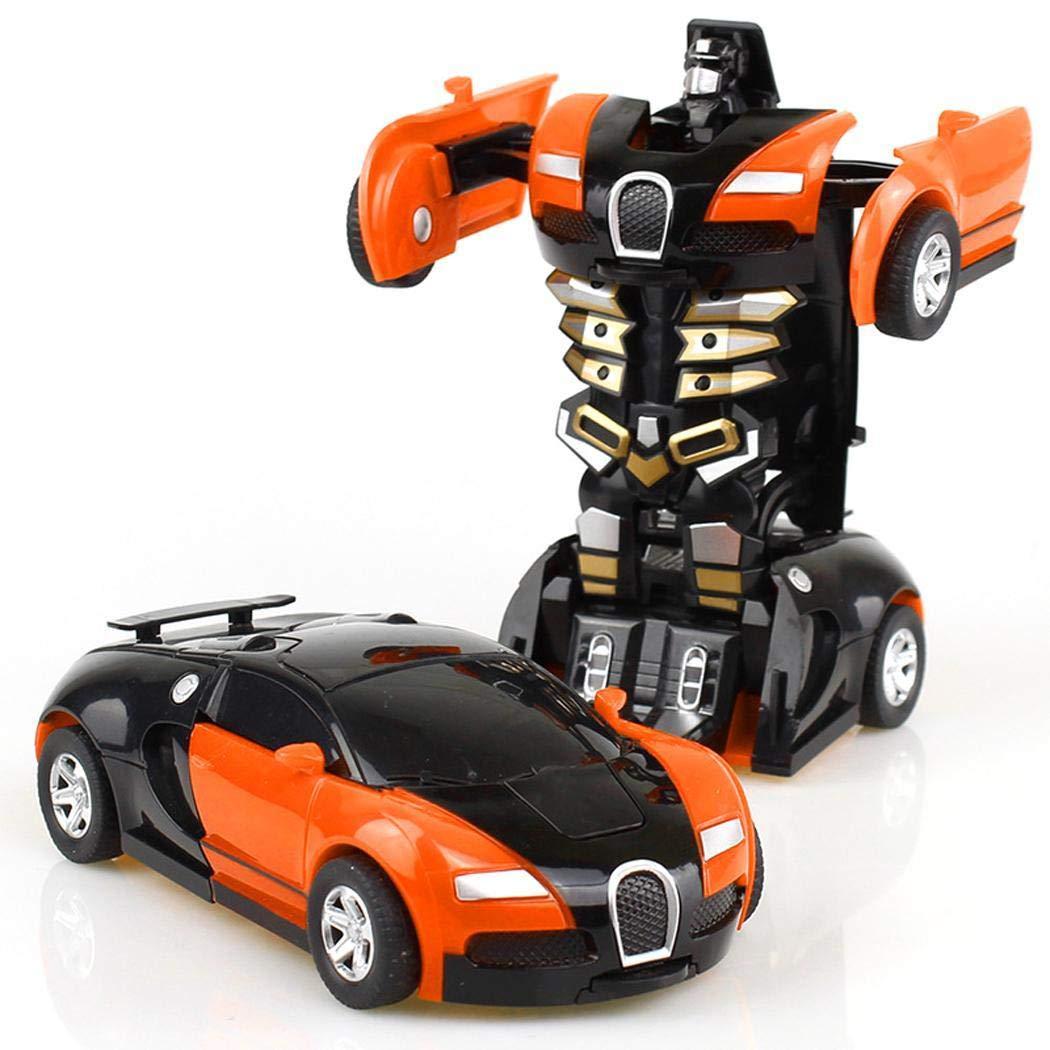 Hiriyt Cartoon Crash Deformation Transforming Robot Car Toy Kids Game Gift Pedal Cars