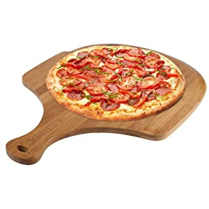 Premium Natural Bamboo Pizza Peel, Pizza Spatula Paddle Cutting Board Handle (Baking Pizza, Bread, Cutting Fruit, Vegetables, Cheese)