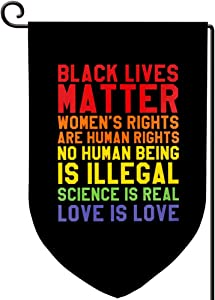 Disheen Black Lives Matter Garden Flag, Burlap Double Sided BLM Flags Garden Yard Lawn Banner for Outdoor Deocr, 12.5 x 18 Weather Resistant