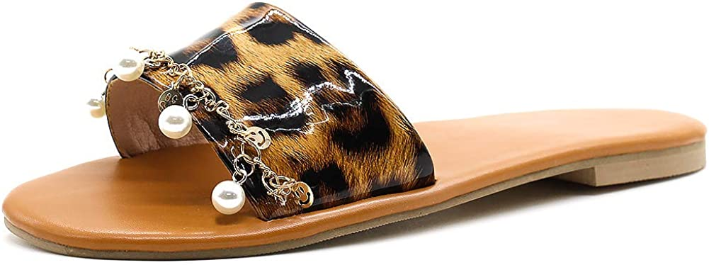 Bohemian Slip On Slippers Open Toe Leopard Patterns Pearl Beads Thongs Beach Shoes Vimisaoi Womens Comfort Flats Slide Sandals