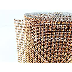 "LolaSaturdays 4.5""x 30FT Diamond Rhinestone Ribbon Wrap Roll- Cake and party decoration (Diamond, Orange)"