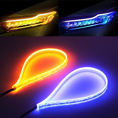 Blue Amber LED Strip Light 2Pcs 23 Inches 114 PCS Led Chip Dual Color Waterproof Car Flexible Daytime Running Light Strip DRL Switchback Headlight and Turn Signal Light Tube Easy Paste Install: Automotive [5Bkhe0101670]
