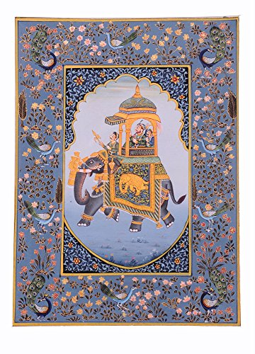 Mughal Miniature Painting – Striking Ambabari Elephant Art Lively to Decor Your Home Hotel Office Bedroom Lobby or Living ()