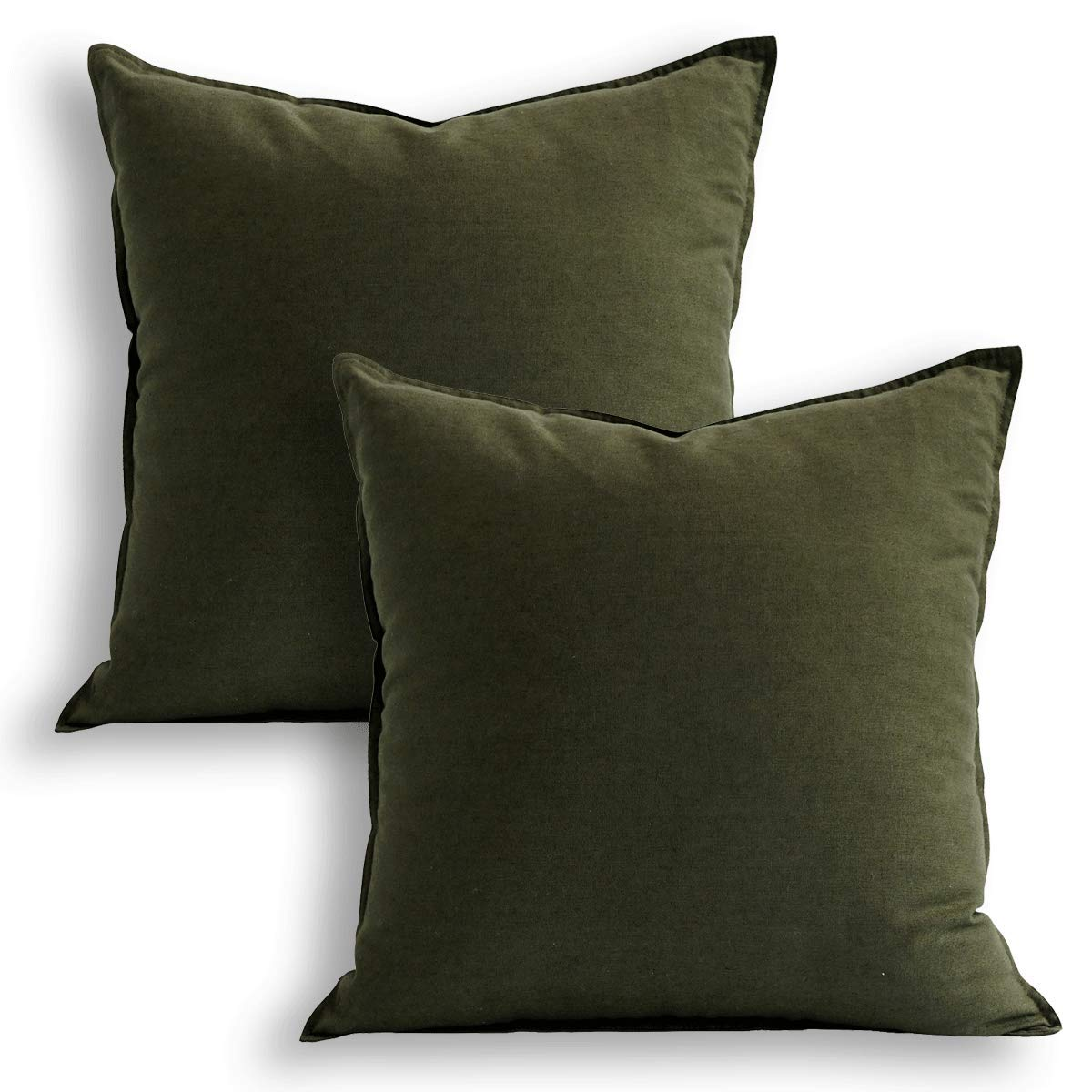 18''x18'' Solid Cotton Linen Decoration Green Throw Pillow Case with Zipper Euro Sham Cushion Case Cool Pillow Cover Delicate Decorative Pillowcase for Chair/Bed/Couch, (45 x 45cm),2 Packs, Olive Green