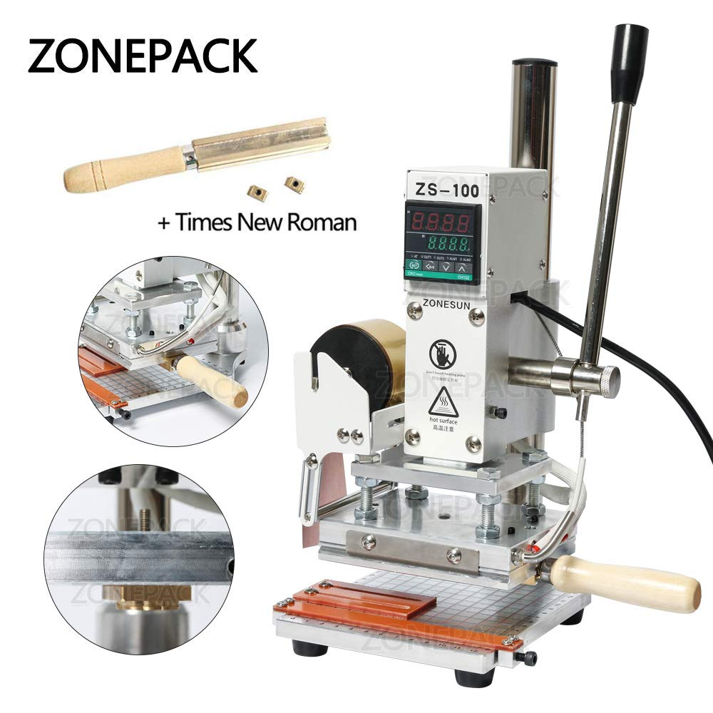 ZONEPACK Digital Embossing Machine with Stamping Letter Hot Foil Stamping Machine Manual Tipper Stamper for PVC Leather Pu and Paper Stamping with Paper Holder (Machine with Time New Roman)