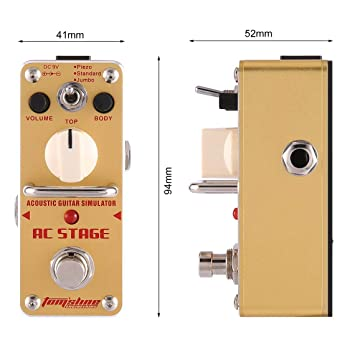 Aroma AAS-3 AC Stage Simulador de guitarra acústica Mini Pedal de efecto de guitarra