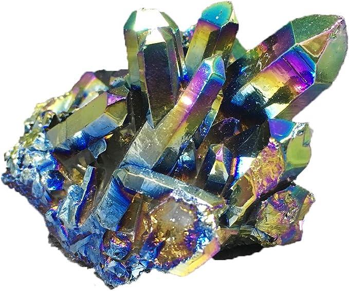 small Rainbow Aura  Titanium Quartz Crystal Pendant Tribal Psychedelic Torque Style Quartz Trippy Electric Psy Burning Man Necklace