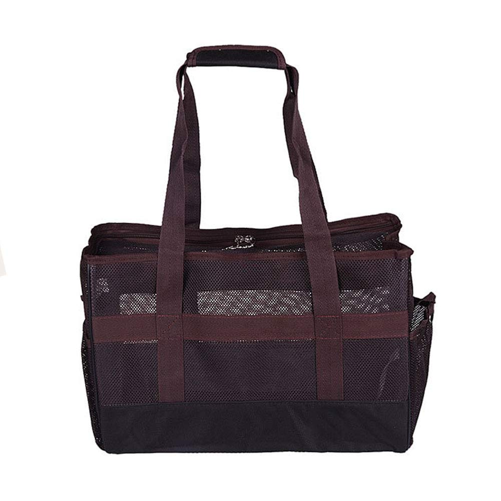 Brown Small Brown Small Pet Travel Tote Bag Shoulder Bag Out Carrying Grid Light Bag Breathable, Travel Puppy and Cat