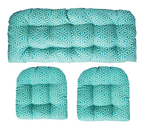 (3 Piece Wicker Cushion Set Made with Indoor Outdoor Made of Tommy Bahama Home Fabric Star Batik Caribe Blue Fabric Turquoise Floral Bloom Cushion for Wicker Loveseat Settee & 2 Matching Chair Cushions)