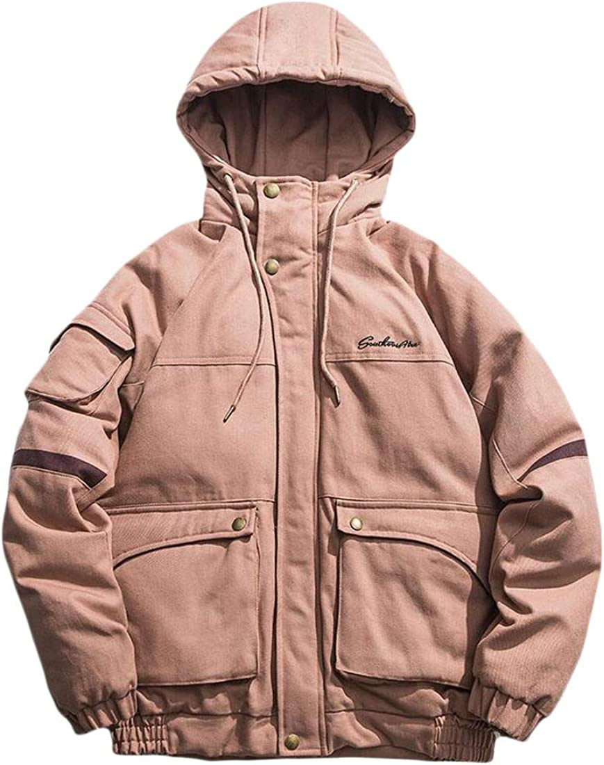 Pluszing Mens Cotton-Padded Cargo Jacket Hoodie Loose Outerwear Parkas Coats