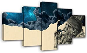 Artbrush Tower Old Man Smoking Blue Space Stars Clouds Surreal Wall Art Home Decorations 5 Piece Canvas Posters Frame Wall Decor Pictures Painting for Living Room Bedroom Ready to Hang(60x32inches)