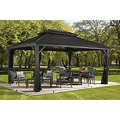 Sojag Messina Galvanized-Steel-Roof Sun Shelter-Grey (12' by 20'ft.) : Garden & Outdoor