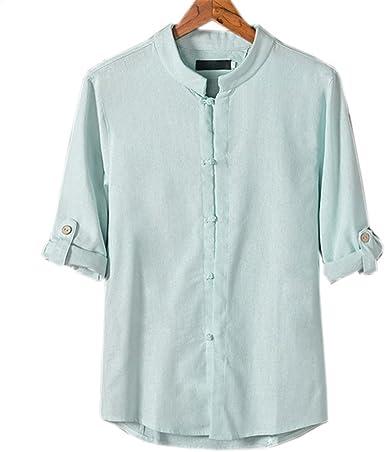 COCO clothing Verano Camisa Hombre Lino Blusa Caballero Tops Cuello Mao Casual Camiseta Estilo de China Shirt (azul claro, M): Amazon.es: Ropa y accesorios