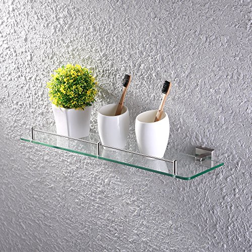 Bathroom Glass Shelf Finish (KES Bathroom Glass Shelf 1 Tier Shower Caddy Bath Basket Stainless Steel RUSTPROOF Wall Mount Brushed Finish, A2420A-2)