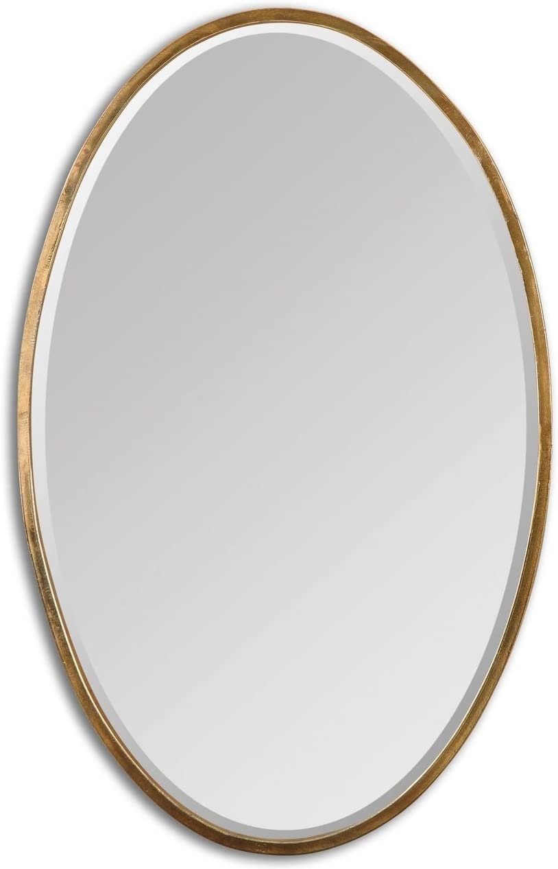 Intelligent Design Thin Frame Gold Oval Wall Mirror Classic Contemporary Vanity