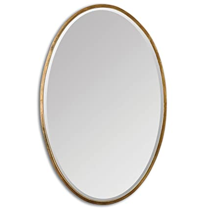 Amazon.com: Thin Frame Gold Oval Wall Mirror | Classic Contemporary ...