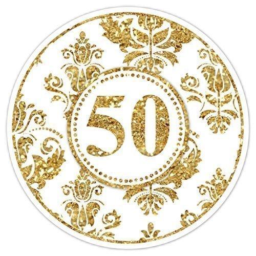 50th Anniversary Gold Glitter Stickers, Anniversary Stickers