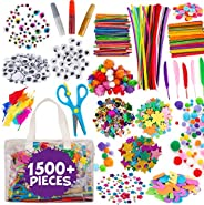 Kids Arts and Craft Supplies - Blue Squid Ultimate Kids Crafts Set, Massive 1500+ Pieces, Giant Art Supplies for Kids of All