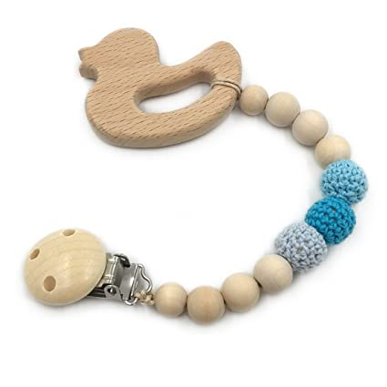 Amazon.com : Amyster 5pcs Baby Teething toy Wooden Teether ...