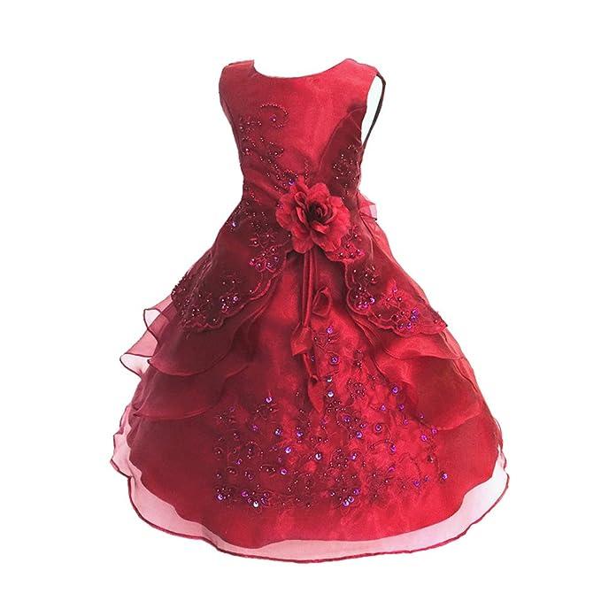 LSERVER-Vestido de Flores Para Las Niñas y Princesas en Verano Para Fiestas Alazán 3