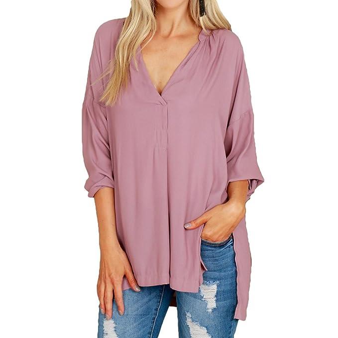hibote Mujer Blusa Chifón Camisas Mujeres Top V Escote Manga larga Blusas Camisa holgada de color