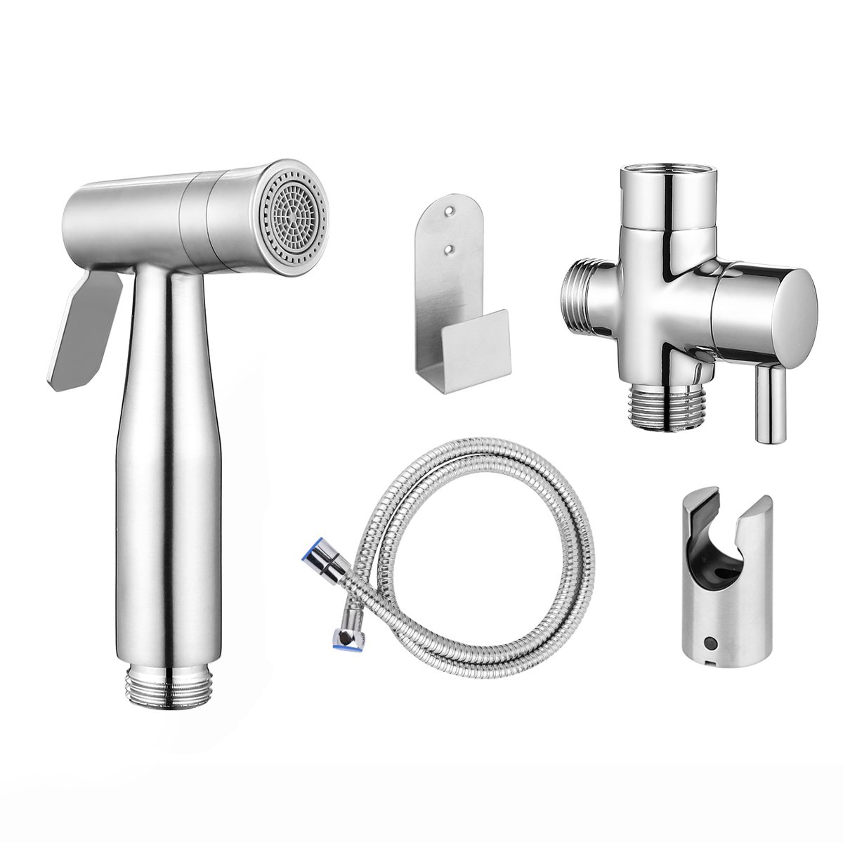 Bidet Sprayer, Konesky Cloth Diaper Sprayer Premium Stainless Steel Bathroom Handheld Bidet Shattaf Sprayer, For Personal Hygiene & Cleaning Care with T-adapter and Hose (Dual Sprayer Mode)
