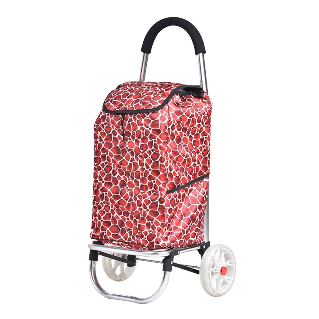 便利なショッピングカート、家庭用トロリー荷物カート - 折りたたみ式食料品トロリー - 重量支持 B07M8F931G pomegranate red