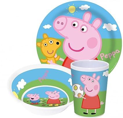 Peppa Pig wutz Niños Service con plato, cuenco y taza de melamina