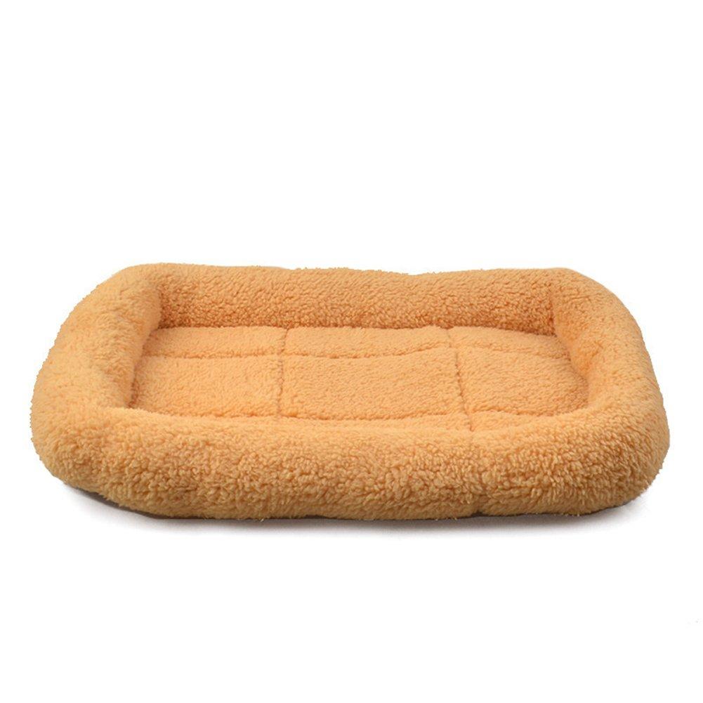 orange L orange L Warm Pet Cotton Mat Dog Blanket Thicker Lamb Wool Mat Dog Supplies Pet Supplies (L, orange)