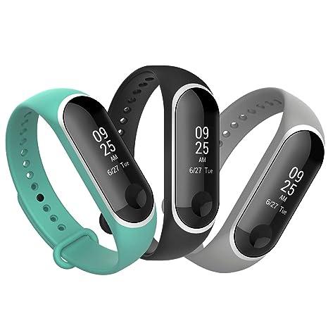 Anjoo Compatible for Xiaomi Mi Band 3 Bracelet [3-Pack], Remplacement Sangle Bracelet Accessoires en Silicone de Bracelet pour Xiaomi Mi Band 3 (Cadre ...