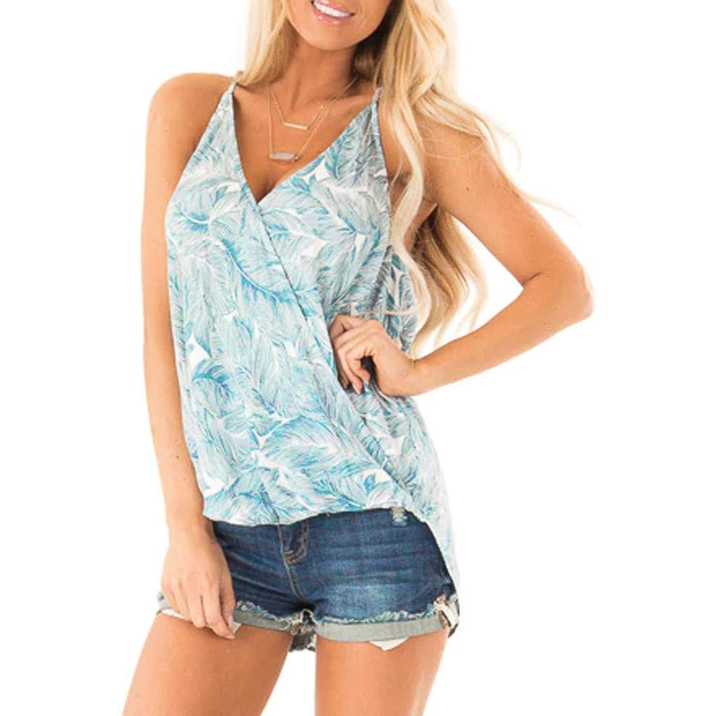 Mebamook Tank Tops for Women,Fashion Casual Camis Bow Knot Bandage Floral Print Top Vest