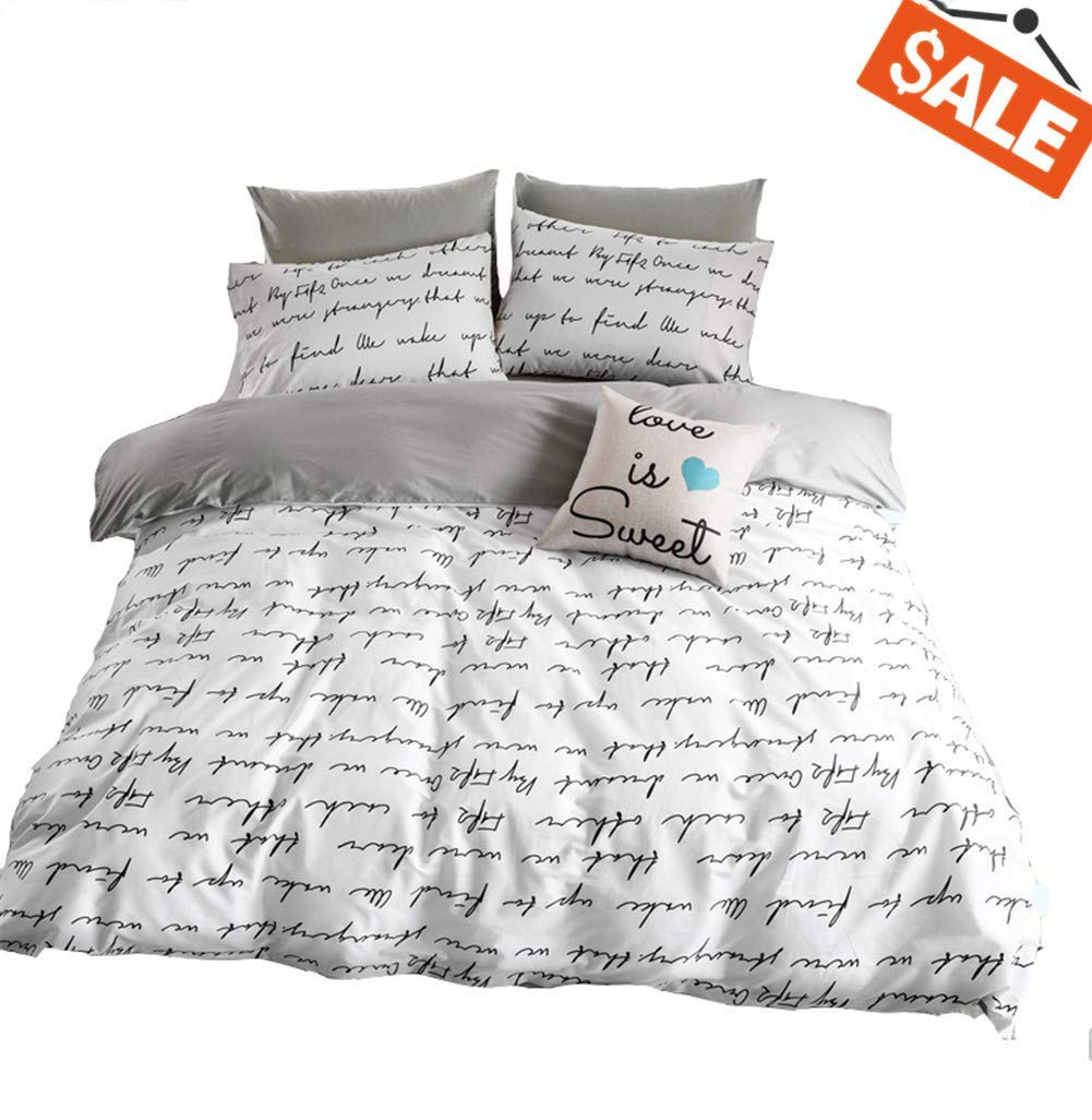 VClife Printed Bedding Queen Duvet Cover Kid Bedding Collections- Reversible Gray White Bedding Set (1 Duvet Cover 2 Pillowcases)