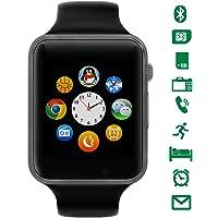 LATEC Smartwatch Bluetooth [Cinturino leggero], orologio da polso Smart Touchscreen. Smart Watch Supporta SIM Card e, TF Card, pedometro, fotocamera remota, modalità sonno per Android Smartphones