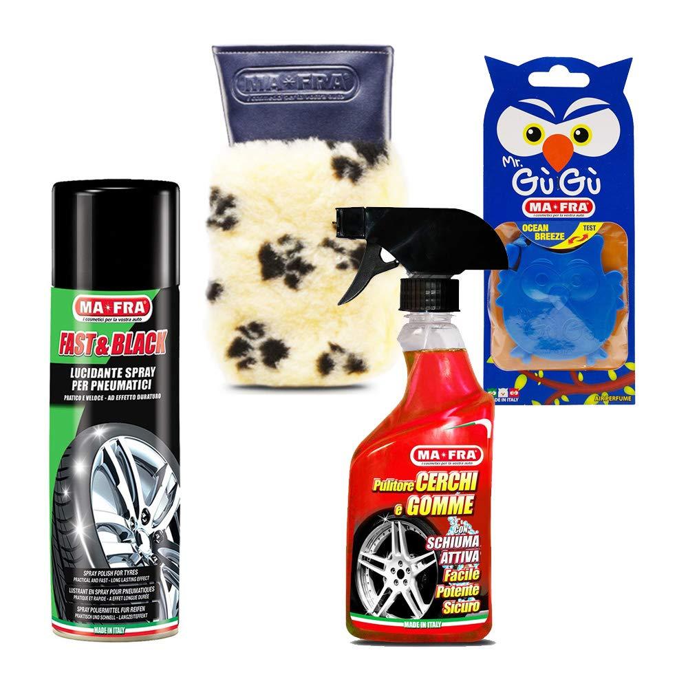 KIT PULIZIA AUTO MOTO spray detergente cerchi gomme lucidante rinnova colore HT