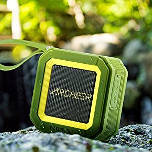 Archeer A106 Outdoor Portable Bluetooth Speakers with Microphone, Powerful 5W Driver with Enhanced Bass, 20 hour Playtime, for Shower/Sports Green