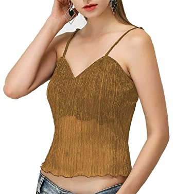 2ae1878cd1 Lutratocro Women s Fashion Ruffle See Through Tube Top Tops Spaghetti Strap  Tank Tops Golden XS