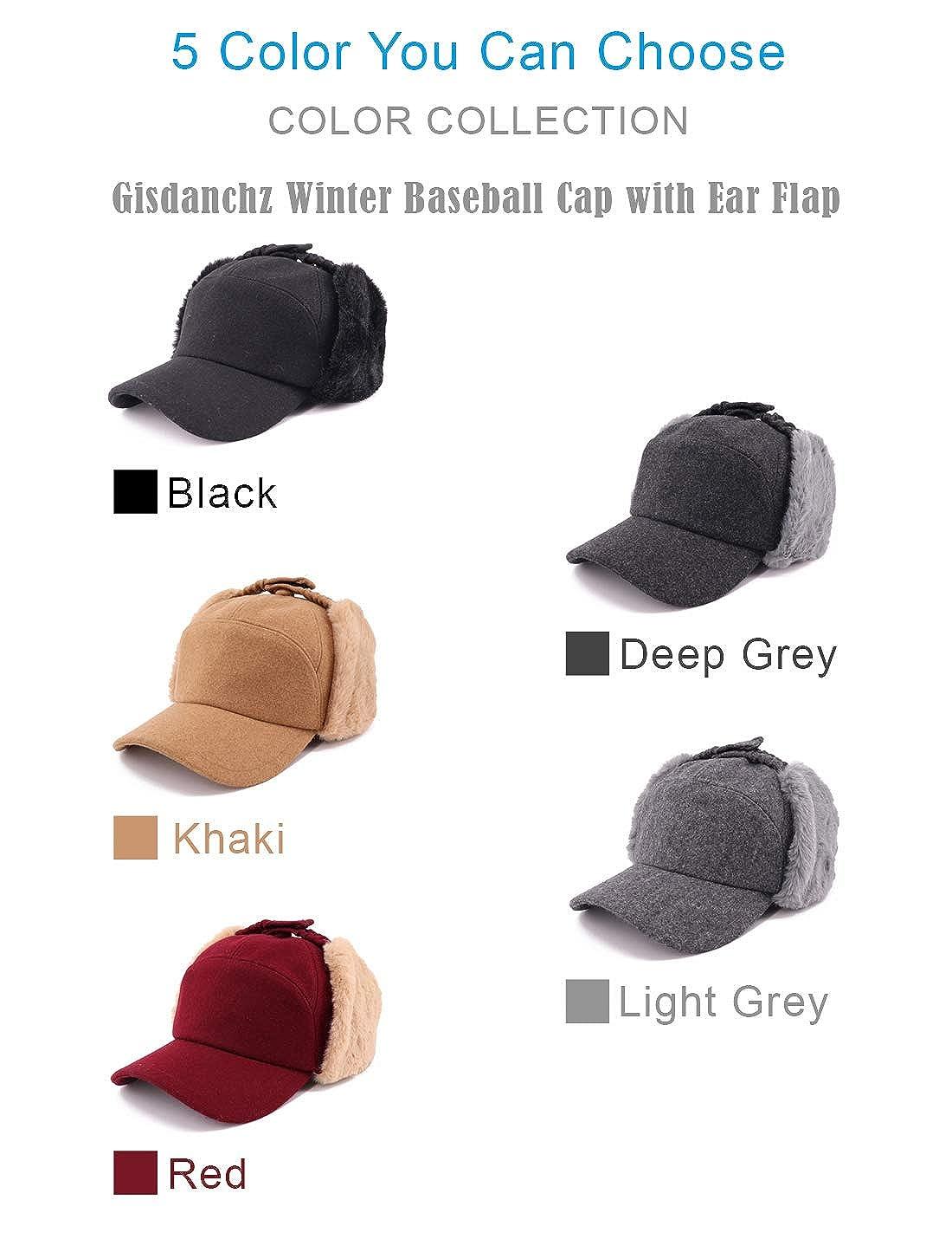 Gisdanchz Winter Cap with Ears Woolen Hat Men Visors Black Sport Cap Winter  Fashion Baseball Cap Warm Winter Baseball Cap Men Snow Trapper Hunting Hat  ... faf5a8b23096