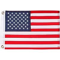"HOOSUN American Flag 12.5"" x 18"" Boat Flag Embroidered Stars USA Flag Boat Marine Bike Car Flag Banner with 2 Brass…"