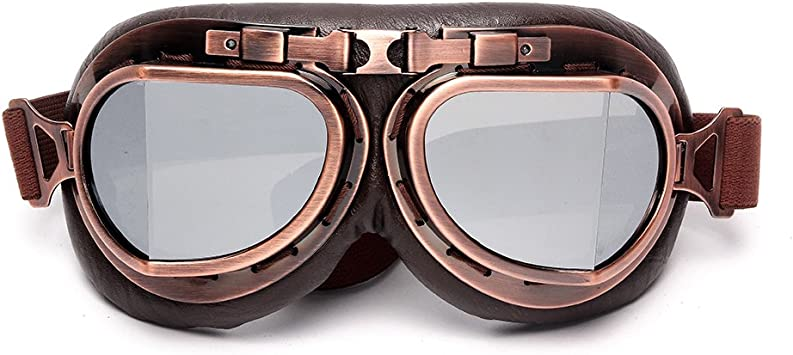 Half or Open Helmet Goggle Silvery LEAGUE/&CO Windproof Motorcycle Vintage Goggles For Harley Racer Cruiser Scooter Biker Aviator Pilot Skiing glasses