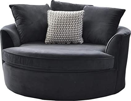 Captivating Be Comy U0026 Cozy With Cuddler Chair In Black Color Made Of Base Of Hardwood  Plywood